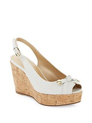 Stuart Weitzman Chatter Platform Wedge Sandals White