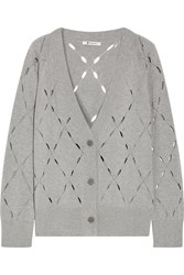 Alexander Wang T By Pointelle Knit Cotton And Modal Blend Cardigan Light Gray