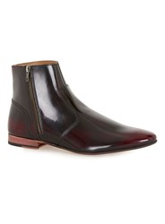 Topman Red Burgundy Leather Zip Boots