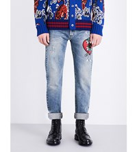 Gucci Heart Embroidered Regular Fit Straight Jeans Blue Multi