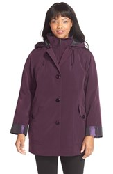 Plus Size Women's Gallery Bibbed Silk Look Raincoat Blackberry Iced Plum