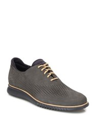 Cole Haan Perforated Nubuck Oxfords Grey