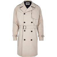 River Island Mens Beige Holloway Road Trench Coat