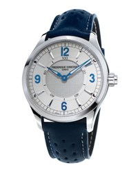 Frederique Constant 42Mm Horological Smart Watch With Leather Strap Blue