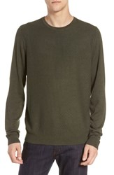 Calibrate Honeycomb Crewneck Sweater Green Wood