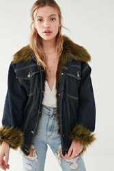 Urban Outfitters Uo Faux Fur Lined Denim Trucker Jacket Dark Blue