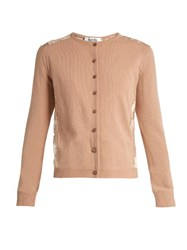 Valentino Lace Panel Wool And Cashmere Blend Cardigan Nude