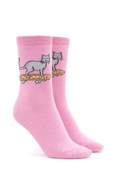 Forever 21 Pizza And Cat Print Crew Socks Pink Multi