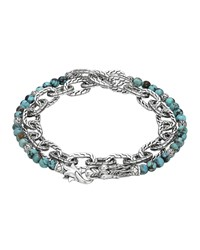Naga Double Wrap Silver Link Bracelet With Turquoise John Hardy