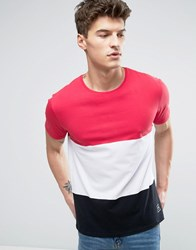 Solid T Shirt With Colour Block In Cut And Sew 0611 White