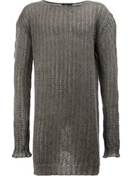 Lost And Found Ria Dunn Long Sleeved Knitted Sweatshirt Linen Flax Grey