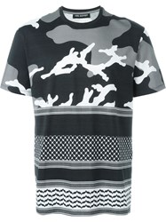 Neil Barrett Patterned Camouflage T Shirt Black