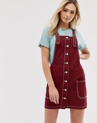 Brave Soul Joan Dungaree Dress With Contrast Stitch Red