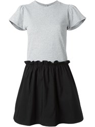 Red Valentino T Shirt Ruffled Short Dress Grey