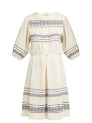 Zeus Dione Skyros Embroidered Cotton Blend Midi Dress Ivory Multi