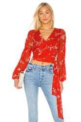 Nicholas Pintuck Wrap Top Red