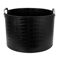 Amara Black Croc Leather Storage Basket