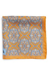 Men's Robert Talbott Medallion Silk Pocket Square Orange