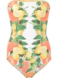 Stella Mccartney Citrus Print Swimsuit Yellow Orange