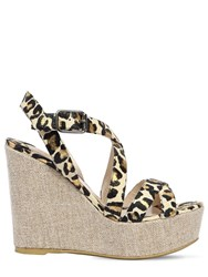 Ernesto Esposito 120Mm Snake Printed Leather Wedges Leopard