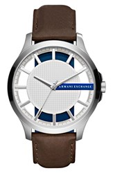 Armani Exchange Men's Ax Leather Strap Watch 46Mm