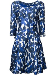 Carolina Herrera Scoop Neck Printed Dress Blue
