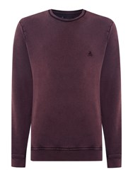 Label Lab Acid Wash Crew Neck Sweat Aubergine