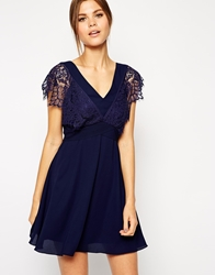 Elise Ryan Lace Skater Dress With Scallop Sleeve And Low Back Navy