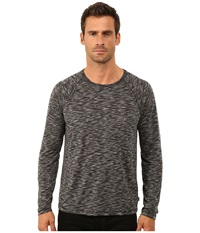 John Varvatos Long Sleeve Raglan Knit Crew Neck With Raw Cut Seams And Coverstitch Details K2411r3b Black Multi Men's Long Sleeve Pullover