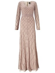 Adrianna Papell Long Sleeve V Neck Beaded Gown Taupe Pink