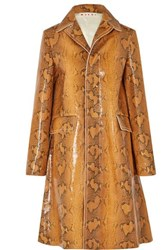 Marni Snake Effect Leather Coat Brown