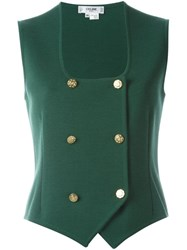 Celine Vintage Double Breasted Waistcoat Green