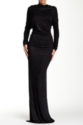 Issue New York Long Sleeve Backless Gown Black