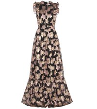 Erdem Ava Metallic Fil Coupe Gown Black