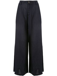 Emporio Armani Wide Leg High Waisted Trousers Blue