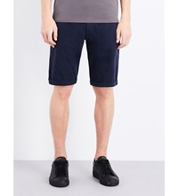 Armani Jeans Straight Cotton Jersey Shorts Navy