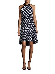 Carmen Marc Valvo Infusion Jet Choker Embellished Plaid Halter Dress Navy White