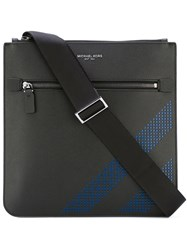 Michael Kors Blue Perforation Flight Bag Men Calf Leather One Size Black
