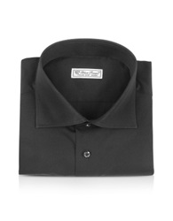 Forzieri Blue Roses Solid Black Wide Spread Collar Cotton Slim Dress Shirt