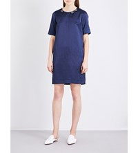 Max Mara S Shaker Embellished Neckline Satin Dress Cornflower Blue