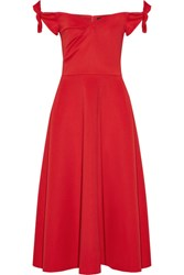 Saloni Ruth Off The Shoulder Stretch Neoprene Midi Dress Red
