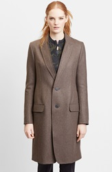 Julien David Double Knit Wool Blend Jersey Long Coat Light Brown