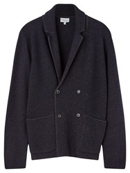 Jigsaw Speckled Milano Knit Double Breasted Blazer Navy