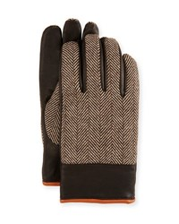 Penguin Herringbone And Leather Gloves Brown