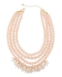 Lydell Nyc Multi Row Beaded Statement Necklace W Dangles Pink