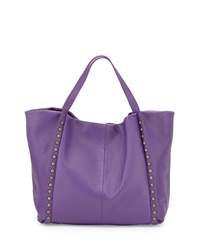 Neiman Marcus Made In Italy Slouchy Studded Leather Tote Bag Plum