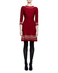 Alexander Mcqueen Tribal Knit 3 4 Sleeve Dress Burgundy