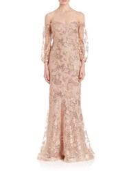Teri Jon By Rickie Freeman Off The Shoulder Sequin Lace Gown Champagne