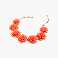 J.Crew Rose Wreath Necklace Neon Cantaloupe