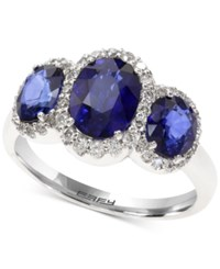 Effy Final Call Diffused Ceylon Sapphire 2 7 8 Ct. T.W. And Diamond 1 3 Ct. T.W. Ring In 14K White Gold Blue